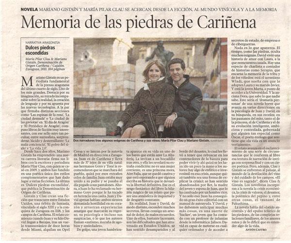 Imagen del artículo de Heraldo de Aragón sobre la novela 'Dulces piedras escondidas', de María Pilar Clau y Mariano Gistaín